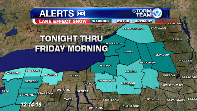 Lake snow warnings in effect for the counties east of Lake Ontario