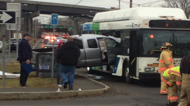 No serious injuries reported after pickup truck crashes into bus near Destiny