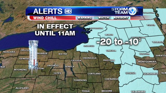 Wind Chill Advisory issued for parts of CNY  Sunday morning