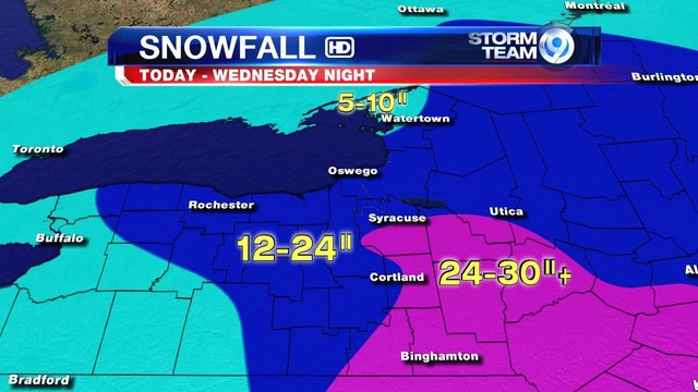 Updated Snow Forecast Some Spots See Feet Or More LocalSYR - Wsyr weather forecast