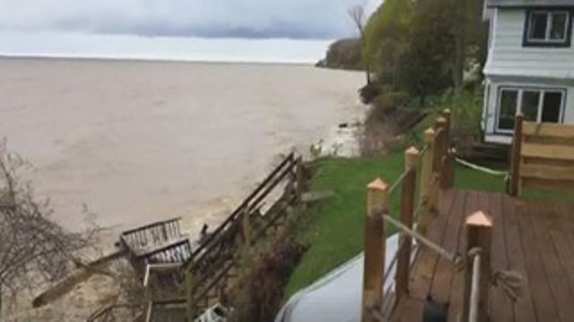 One house dangerously close to falling into Lake Ontario
