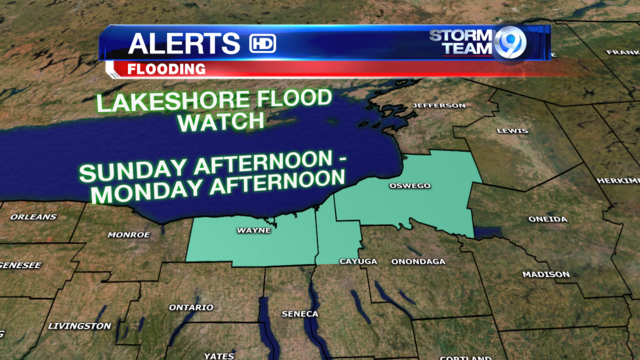 Lakeshore Flood Watch up on Lake Ontario shoreline 2PM Sunday - 2PM Monday