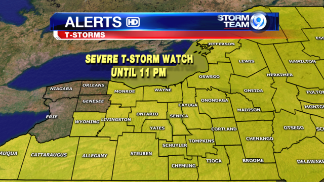 Severe T-storm Watch in effect for most of CNY
