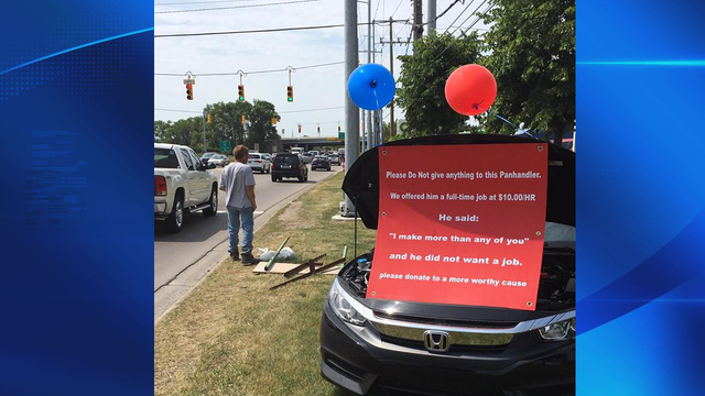 Panhandler turns down job offer, Honda dealership fires back
