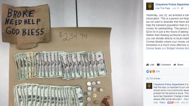 Wyoming police Facebook post warning people about panhandlers draws support, criticism