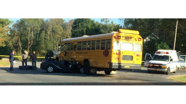 Driver hits Central Square school bus, hospitalized with 'life threatening' injuries