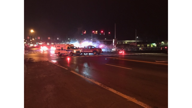 At least 1 person hospitalized following crash between car, Liverpool fire vehicle