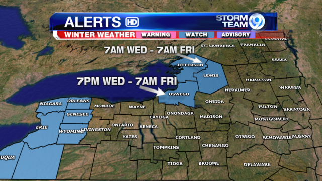Winter Storm Watches for parts of CNY