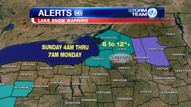 Lake Snow Warnings issued for parts of CNY