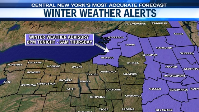 Winter Weather Advisories in effect for much of CNY