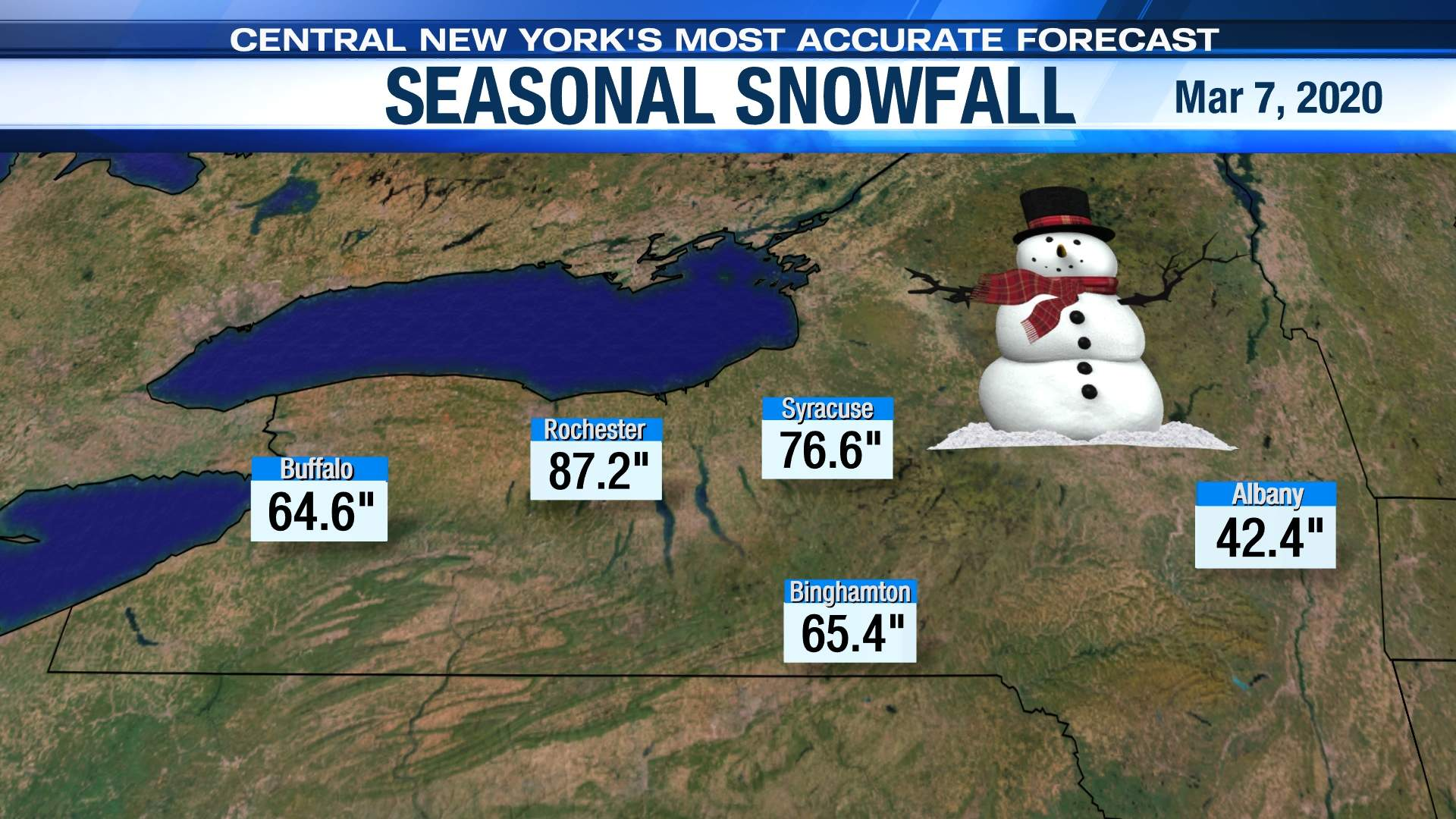 New York State Seasonal Snowfall Map