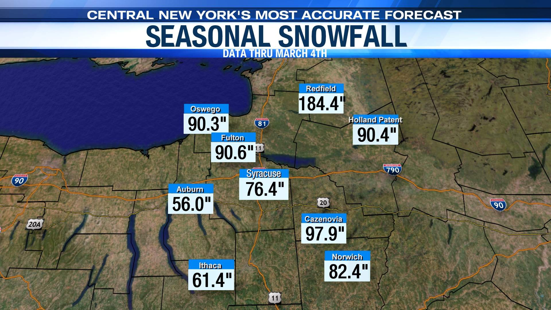 Central New York Seasonal Snowfall Map